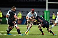 4th April 2021; Paris La Défense Arena, Nanterre, Paris, France; European Champions Cup Rugby, Racing 92 versus Edinburgh;  BERNARD LE ROUX ( 4 - Racing ) runs into the tackle M Bradbury ( Edinburgh )