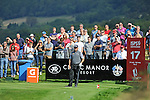 ISPS Handa Wales Open Golf final day at the Celtic Manor Resort in Newport, UK. : Lee Westwood of England watches his shot from the 17th.