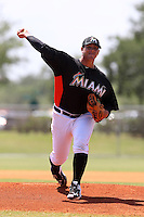 Miami Marlins pitcher Jose Fernandez #44 delivers a pitch during a minor league spring training game against the New York Mets at the Roger Dean Sports Complex on March 28, 2012 in Jupiter, Florida.  (Mike Janes/Four Seam Images)