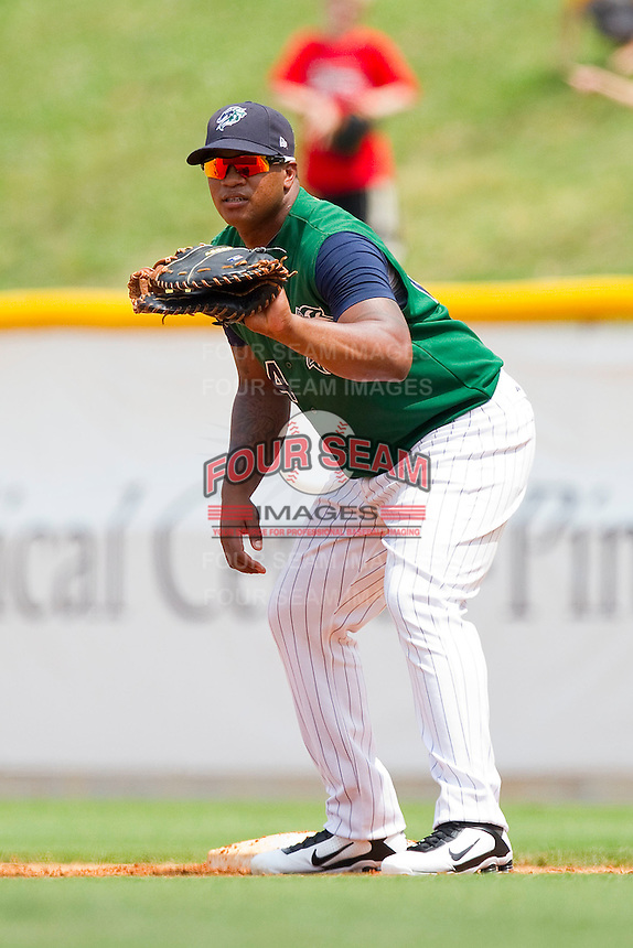 First baseman Dayan Viciedo #24 of the Charlotte Knights on defense against the Syracuse Chiefs at Knights Stadium on June 19, 2011 in Fort Mill, South Carolina.  The Knights defeated the Chiefs 10-9.    (Brian Westerholt / Four Seam Images)