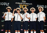 """B1A4, Jul 24, 2014 : South Korean boy band B1A4, attend a photo call before the 10th anniversary live special of weekly music chart show, """"M! Countdown"""" of Mnet in Goyang, north of Seoul, South Korea. (Photo by Lee Jae-Won/AFLO) (SOUTH KOREA)"""
