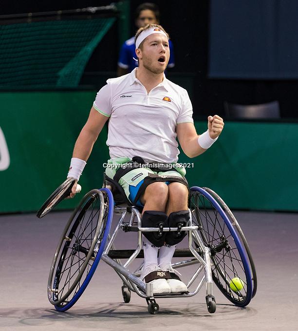 Rotterdam, The Netherlands, 6 march  2021, ABNAMRO World Tennis Tournament, Ahoy,  Semi final wheelchair: Alfie Hewett (GBR). Photo: www.tennisimages.com