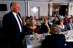 Brian Johnston portrait British cricket commentator TV and radio  personality 1990s. He also worked as an After Dinner Speaker, seen here with an office business group as part of a office bonding session. Husband and wife both invited. George Hotel Gloucester