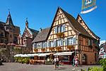 France, Alsace, Haut-Rhin, Éguisheim, restaurant and butcher shop at Place du Chateau St. Léon   Frankreich, Elsass, Haut-Rhin, Éguisheim: Restaurant und Metzgerei am Place du Chateau St. Léon