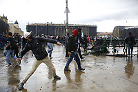 BOGOTA, COLOMBIA - APRIL 28 : People clashes with police during a national strike Against the Duque package and the tax reform on April 28, 2021 in Bogota, Colombia. Colombia has the minimum wage around $ 250 per month where people are unhappy about corruption, unemployment, and inequality by Government. (Photo by Leonardo Munoz/VIEWpress)