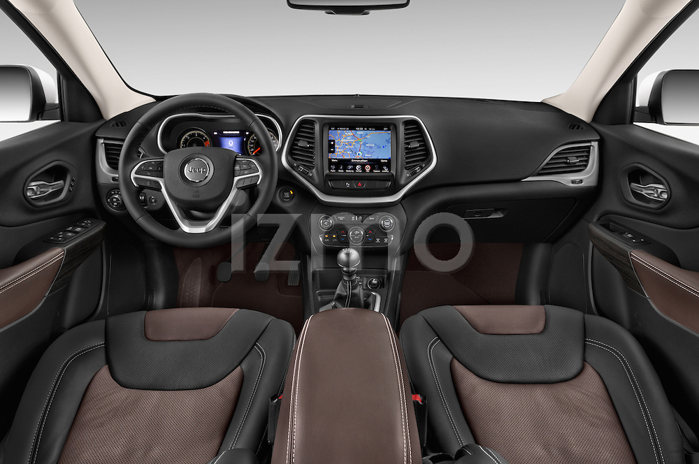 Stock photo of straight dashboard view of a 2015 Jeep Cherokee Limited 5 Door SUV