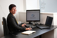 Cherie Coughlan at the business office in Skewen, Wales, UK