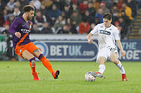 (L-R) Kyle Walker of Manchester City and Daniel James of Swansea City during the Emirates FA Cup match between Swansea City and Manchester City at the Liberty Stadium, Swansea, Wales, UK. Saturday 16 March 2019