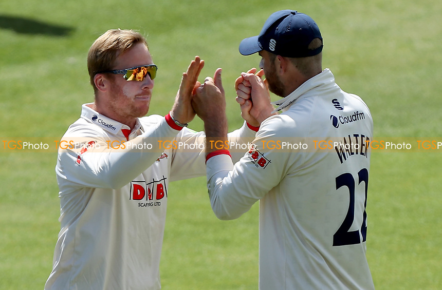 Simon Harmer of Essex (left) celebrates taking the wicket of Luke Fletcher with Paul Walter during Essex CCC vs Nottinghamshire CCC, LV Insurance County Championship Group 1 Cricket at The Cloudfm County Ground on 5th June 2021