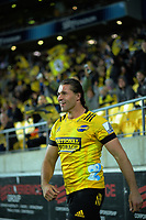Kobus Van Wyk (Hurricanes) celebrates his try during the Super Rugby match between the Hurricanes and Blues at Sky Stadium in Wellington, New Zealand on Saturday, 7 March 2020. Photo: Dave Lintott / lintottphoto.co.nz