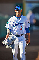 Caine Agis (35) of the Ogden Raptors before the game against the Grand Junction Rockies at Lindquist Field on June 5, 2021 in Ogden, Utah. The Raptors defeated the Rockies 18-1. (Stephen Smith/Four Seam Images)