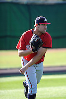 Pitcher Ian Thomas (72) of the Atlanta Braves farm system in a Minor League Spring Training workout on Monday, March 16, 2015, at the ESPN Wide World of Sports Complex in Lake Buena Vista, Florida. (Tom Priddy/Four Seam Images)