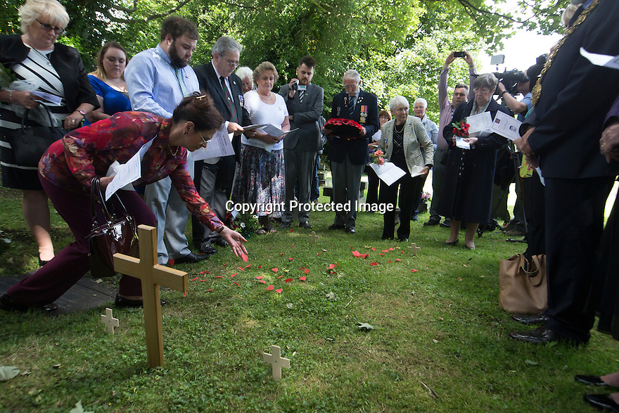 """11/06/16<br /> <br /> Great niece, Linda Ash lays poppies.<br /> <br /> One hundred years have passed since Private Charles Gordon Shaw was fatally wounded in the Battle of the Somme, but today is the first day his family have been able to grieve at his graveside.<br /> <br /> Full Story: https://fstoppressblog.wordpress.com/private_charles_shaw/<br /> <br /> <br /> That's because his grave was """"lost"""" during a changeover in church vicars and when the Commonwealth War Graves Commission tried to place a headstone on his plot in 1926, the new vicar was unable to tell them where the body was buried.<br /> <br /> But today, thanks to detective work by his  niece, 83-year-old Dorris Innes from Spondon, together with an amateur historian who located the 'lost' grave, Private Shaw's family were finally able to pay their respects to the war hero, with a commemorative service at his grave, exactly 100 years to the day since he was buried at Christ Church in Stonegravels, Chesterfield.<br /> <br /> All Rights Reserved, F Stop Press Ltd."""