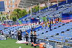 Getafe CF's team and RCD Espanyol's team pay tribute to the victims of the Covid 19 pandemic during La Liga match. June 16, 2020. (ALTERPHOTOS/Acero)