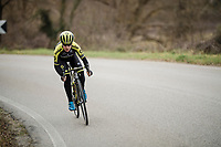 Amanda Spratt (AUS/Mitchelton-Scott) at race reconnaissance 1 day prior to the 13th Strade Bianche 2019 (1.UWT)<br /> One day race from Siena to Siena (184km)<br /> <br /> ©kramon