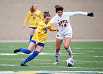 BROOKINGS, SD - MARCH 14: Avery LeBlanc #8 from South Dakota State battles for the ball with Sami Feller #18 from Denver during their match at Dana J. Dykhouse Stadium on March 14, 2021 in Brookings, South Dakota. (Photo by Dave Eggen/Inertia)