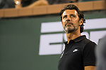 March 08, 2018: Patrick Mouratoglou, Serena Williams coach, watches as she defeated Zarina Diyas (KAZ) 7-5, 6-3 at the BNP Paribas Open played at the Indian Wells Tennis Garden in Indian Wells, California. ©Mal Taam/TennisClix/CSM