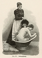 Woman in a hip bath has water poured over her back by a maid. / Die Frau als Hausarztin Page 473 / 1904