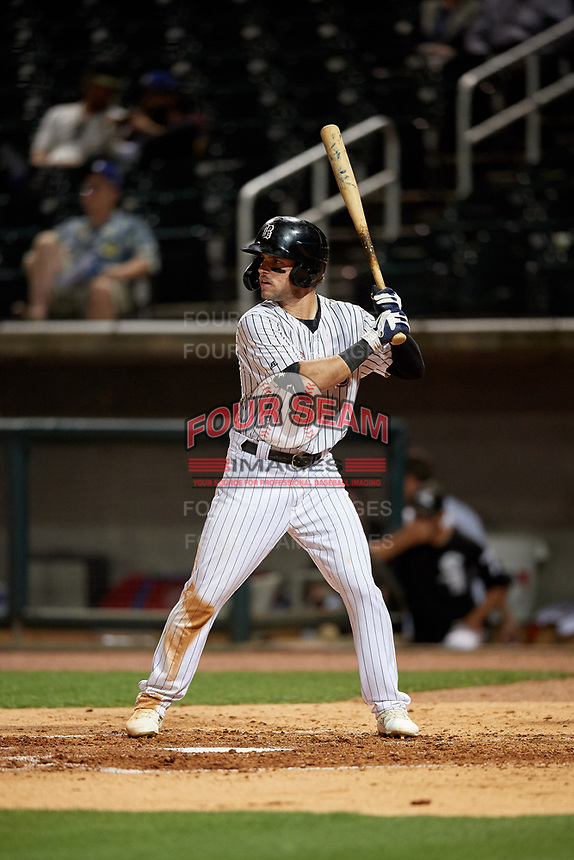 Birmingham Barons Luis Gonzalez (8) at bat during a Southern League game against the Chattanooga Lookouts on May 1, 2019 at Regions Field in Birmingham, Alabama.  Chattanooga defeated Birmingham 5-0.  (Mike Janes/Four Seam Images)