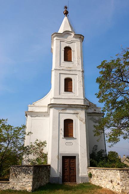 Typical white Baroque village church ; Balaton, Hungary