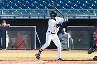 Peoria Javelinas shortstop Lucius Fox (5), of the Tampa Bay Rays organization, at bat during an Arizona Fall League game against the Scottsdale Scorpions at Peoria Sports Complex on October 18, 2018 in Peoria, Arizona. Scottsdale defeated Peoria 8-0. (Zachary Lucy/Four Seam Images)