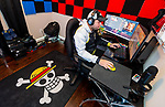 MERIDEN, CT-010721JS06- Michael Leonardi, a member of the U.S. Army's ESports team, plays the game Valorant, a multiplayer tactical firsts-person game, in his game room of his home in Meriden on Thursday. Leonardi is a professional gamer enrolling in Post University's new Bachelor of Science for ESports Management program that is expected to begin in 2021. <br /> Jim Shannon Republican-American