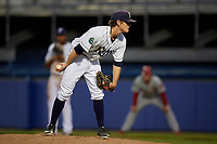 Princeton Rays starting pitcher Stephen Yancey (15) looks in for the sign during the second game of a doubleheader against the Johnson City Cardinals on August 17, 2018 at Hunnicutt Field in Princeton, Virginia.  Princeton defeated Johnson City 12-1.  (Mike Janes/Four Seam Images)