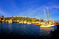 Scenic Lahaina Harbor. Located in the historic whaling town of Lahaina on  Maui. West Maui mountains in background.