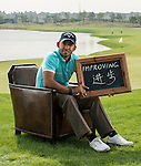 """Pablo Larrazabal was asked by Ballantine's at the BMW Masters to describe how he stays true to himself; his answer is shown. Ballantine's, who recently announced their new global marketing campaign, """"Stay True, Leave An Impression"""", is a sponsor at the BMW Masters, which takes place from the 24-27 October at Lake Malaren Golf Club in Shanghai.  Photo by Andy Jones / The Power of Sport Images for Ballantines."""