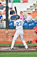 Pulaski Yankees shortstop Oswald Peraza (27) awaits a pitch during a game against the Johnson City Cardinals at TVA Credit Union Ballpark on July 7, 2018 in Johnson City, Tennessee. The Cardinals defeated the Yankees 7-3. (Tony Farlow/Four Seam Images)