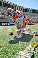 23 August 2008: Philadelphia Barrage Defenseman Brett Moyer laces up prior to facing the Rochester Rattlers during the Semi-Finals of the Major League Lacrosse Championship Weekend at Harvard Stadium in Boston, MA. The Rattlers defeated the Barrage 16-15 in sudden death overtime, advancing to the upcoming Championship Game...Mandatory Photo Credit: Ed Wolfstein Photo