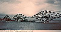 Forth Bridge in Scotland, 1882-89 designed by Sir Benjamin Baker. UNESCO World Heritage Site. It is a 2.5km-long, 110m-high cantilever bridge on the River Forth.