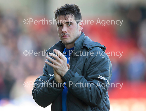 St Johnstone v Dundee....11.04.15   SPFL<br /> Brian Graham applauds the fans at full time<br /> Picture by Graeme Hart.<br /> Copyright Perthshire Picture Agency<br /> Tel: 01738 623350  Mobile: 07990 594431