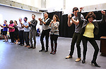 Derrick Baskin, Bryan Fenkart, Joseph Siravo, Leslie Kritzer, Zak Resnick, Linda Hart and ensemble cast performing at  the press rehearsal for 'Piece of my Heart: The Bert Berns Story'  Meet & Greet at the rehearsal studios at The Pershing Square Signature Center on June 11, 2014 in New York City.