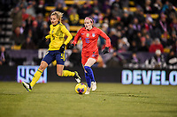 COLUMBUS, OH - NOVEMBER 07: Rose Lavelle #16 of the United States looks for an open man downfield during a game between Sweden and USWNT at MAPFRE Stadium on November 07, 2019 in Columbus, Ohio.