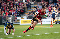 Braydon Ennor scores during the 2020 Super Rugby match between the Crusaders and Highlanders at Orangetheory Stadium in Christchurch, New Zealand on Saturday, 9 August 2020. Photo: Joe Johnson / lintottphoto.co.nz