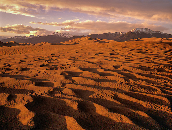 Sunset at Great Sands Dunes National Park, Alamosa, Colorado, John offers private photo tours to Great Sand Dunes National Park and Rocky Mountain National Park, Colorado. .  John offers private photo tours and workshops throughout Colorado. Year-round.