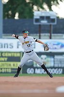 West Virginia Black Bears shortstop Andrew Walker (13) throws to first base during a game against the Batavia Muckdogs on June 24, 2017 at Dwyer Stadium in Batavia, New York.  The game was suspended in the bottom of the third inning and completed on June 25th with West Virginia defeating Batavia 6-4.  (Mike Janes/Four Seam Images)