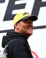 Aug 17, 2014; Brainerd, MN, USA; NHRA pro stock driver Jeg Coughlin Jr during the Lucas Oil Nationals at Brainerd International Raceway. Mandatory Credit: Mark J. Rebilas-