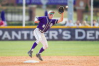 Chris Clare (9) of the High Point Panthers fields a throw at second base against the Coastal Carolina Chanticleers at Willard Stadium on March 15, 2014 in High Point, North Carolina.  The Chanticleers defeated the Panthers 1-0 in the first game of a double-header.  (Brian Westerholt/Four Seam Images)
