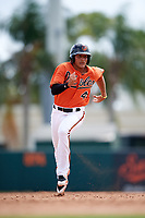 Baltimore Orioles Alexis Torres (45) running the bases during an Instructional League game against the Tampa Bay Rays on October 2, 2017 at Ed Smith Stadium in Sarasota, Florida.  (Mike Janes/Four Seam Images)