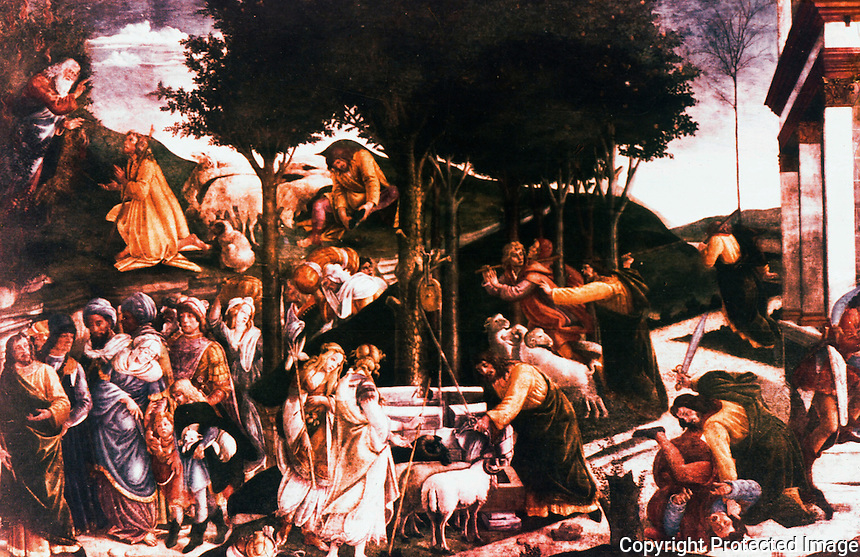 """Vatican:  Sistine Chapel--""""Moses Receives the Call"""", a fresco by Botticelli in 1481 for walls of the Sistine Chapel."""