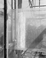 """""""Single Glass Pane"""" <br /> Gibson Greenhouses, Maryville, Tennessee<br /> <br /> This photograph shows sunlight streaming through the greenhouse to illuminate a pane of glass containing whitewash."""