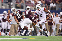 Texas A&M wide receiver Josh Reynolds (11) fails to catch a pass during an NCAA Football game, Saturday, September 27, 2014 in Arlington, Tex. Texas A&M defeated Arkansas 35-28 in overtime. (Mo Khursheed/TFV Media via AP Images)