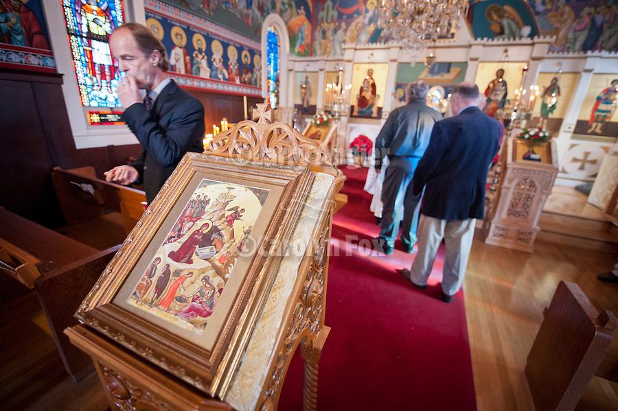 Icon of the Nativity, Christmas Liturgy Service, St. Sava Serbian Orthodox Church, Jackson, Calif.