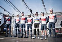 Team Trek-Segafredo introducing itself on the sign-on podium<br /> <br /> 72nd Kuurne-Brussel-Kuurne 2020 (1.Pro)<br /> Kuurne to Kuurne (BEL): 201km<br /> <br /> ©kramon