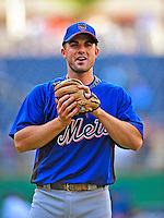 6 June 2009: New York Mets' third baseman David Wright warms up prior to a game against the Washington Nationals at Nationals Park in Washington, DC. The Mets fell to the Nationals 7-1 as Nats' starting pitcher John Lannan tossed his first career complete-game win. Mandatory Credit: Ed Wolfstein Photo