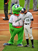 """22 June 2009: Vermont Lake Monsters' catcher Rick Nolan has a word with mascot """"Champ"""" prior to a game against the Tri-City ValleyCats at Historic Centennial Field in Burlington, Vermont. The Lake Monsters defeated the visiting ValleyCats 5-4 in extra innings. Mandatory Photo Credit: Ed Wolfstein Photo"""