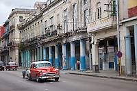 Cuba, Havana.  Early Morning Central Havana Street Scene.  1950 Chevrolet.