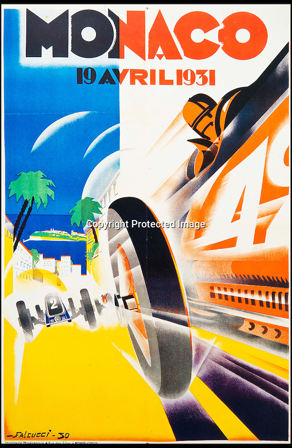 BNPS.co.uk (01202 558833)<br /> Pic: ThamesHudson/BNPS<br /> <br /> ***Please use full byline***<br /> <br /> Robert Falucci 1931. Classic art deco poster for the 3rd Monaco Grand Prix showing a red Bugatti racing toward the viewer. This is the rarest and most valuable of the Grand Prix de Monaco series. The race was the first to be broadcast on radio and Bugatti won for the 3rd time in a row. <br /> <br /> The golden age of poster art has been captured in a sumptuous new book of Art Deco design from the 1920's and 30's.<br /> <br /> And ironically the stunning but throwaway designs now sell for tens of thousands of pounds as modern collectors appreciate the unique design's from a halcyon age.<br /> <br /> Author Willian Crouse has illustrated his book with over 300 posters from his own vast collection of art accumulated over the last 30 years.